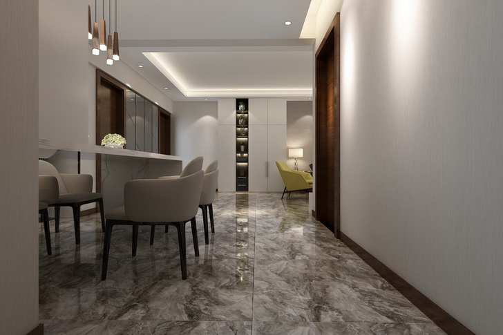 铺装餐厅地板瓷砖的方法